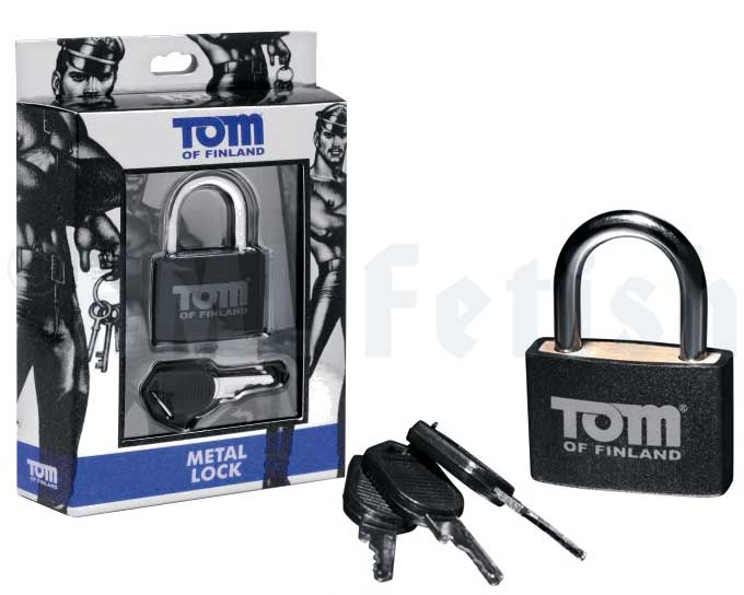 Tom-of-Finland cadenas This solid body padlock is a blend of lightweight materials and sturdy metal with a Tom of Finland logo printed on the outside for style. Versatile and couples well with most bondage accessories. Includes 3 keys.
