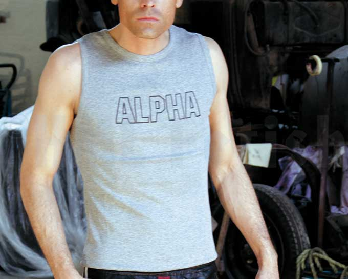 Alpha Track-Top grey New in our collection: a tight rib tank top from Alpha Industries. Manufactured from 100% cotton with printed front and back logos.