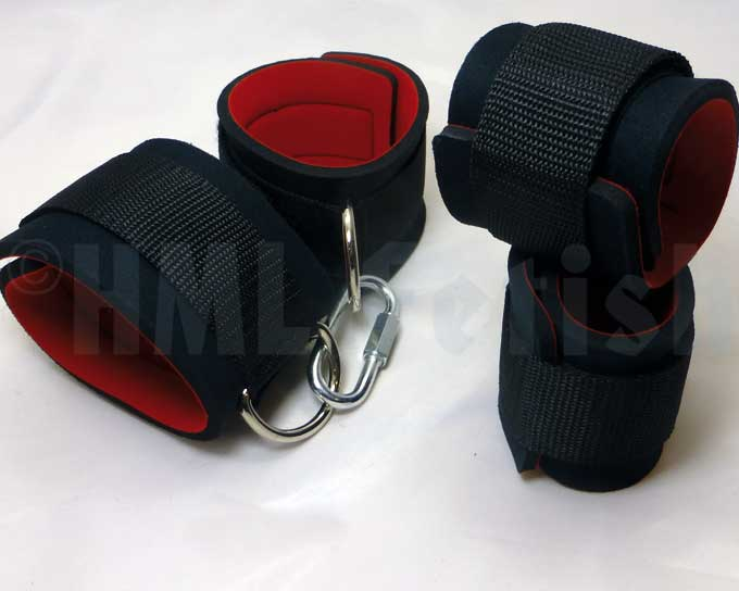 Neoprene-Velcro Hand Restraints Resilient hand restraints manufactured in Germany from 5 mm thick and soft neoprene. These cuffs are 7 cm wide in the inner belt and connected with a 4 cm wide outer belt with an endurable velcro. We deliver them with a  snap hook in a matching appearance.