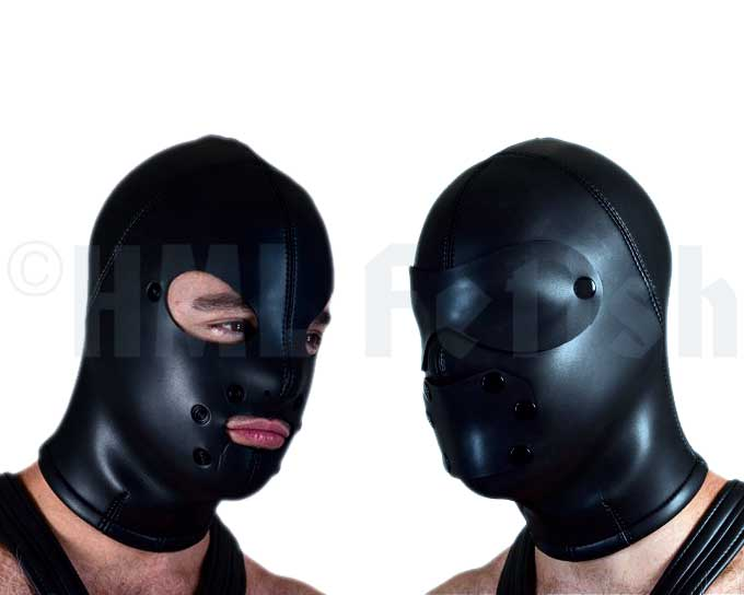 Neoprene lock out Hood This mask from 2.5 mm thick neoprene catches your mind immediately. One size fits all. When the nylon zipper will be closed along your head backside, the world stays outside and your mind drifts away into the soft darkness. Sounds will be faded out and every touch on your naked skin feels double as intensive. Eye- and mouthpads are attached with snaps. If closed breathing become less easy than before because the neoprens material is relatively airtight. So take attention of the guy before who has the control about the situation from now on. He might take advantage of your helplessness ;-)